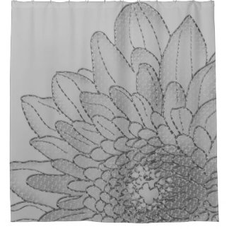 Large Graphic Grey Sunflower | Shower Curtain