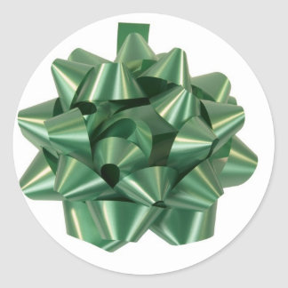 Large Green Christmas Present Bow ribbon Round Sticker