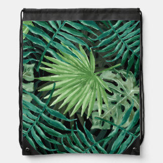 Large Green Fern Palm and Monstera Tropical Plants Drawstring Bag