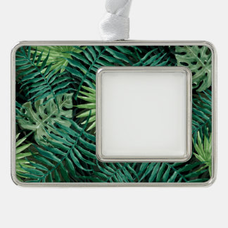 Large Green Fern Palm and Monstera Tropical Plants Silver Plated Framed Ornament