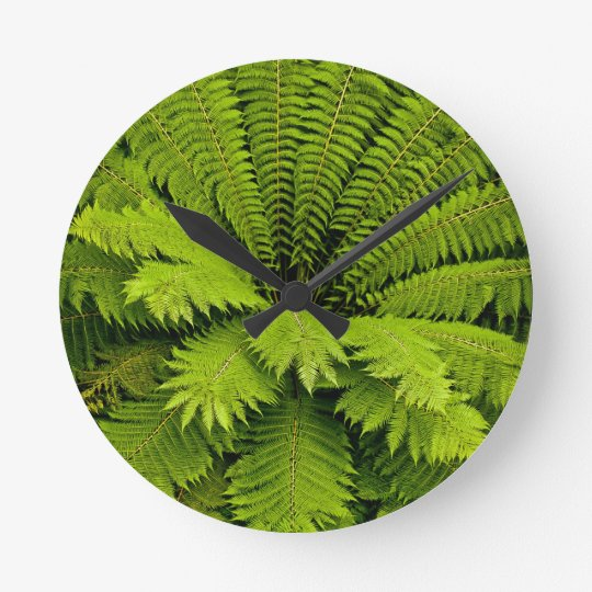 Large Green Fern Round Clock