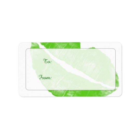 Large Green Irish Lipstick Blot on Transparent BG Address Label