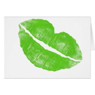 Large Green Irish Lipstick Blot on Transparent BG Greeting Card