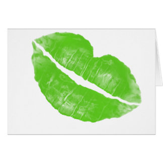 Large Green Irish Lipstick Blot on Transparent BG Greeting Card