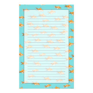 Large group of goldfish facing one lone goldfish customised stationery