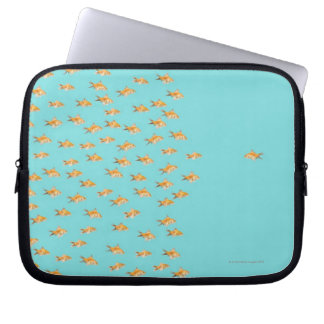 Large group of goldfish facing one lone goldfish laptop sleeve