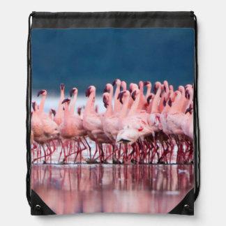 Large Group Of Lesser Flamingos Drawstring Bag