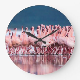Large Group Of Lesser Flamingos Large Clock