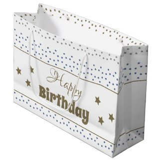 Large Happy Birthday Gift Bag With Stars