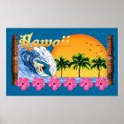 Large Hawaiian Surfing Poster