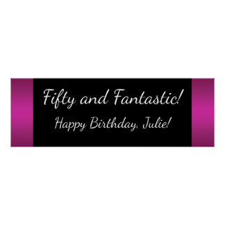 Large Hot Pink Birthday Party Banner Poster