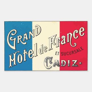 Large Hotel of France Cadiz Rectangular Stickers