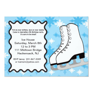 Large Ice-skates Birthday party Invitation