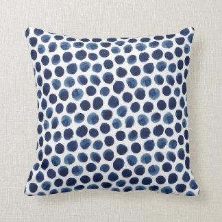 Large Indigo/Blue Watercolor Polka Dot Pattern Cushion