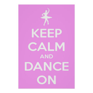 Large Keep Calm and Dance On Pink Poster