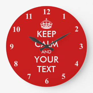 Large Keep Calm wall clock | Customizable design