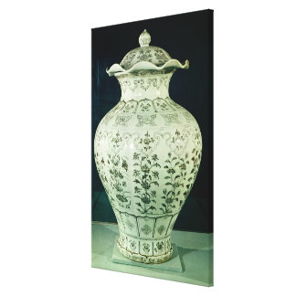 Large 'Kuoan' vase decorated with blue flowers Stretched Canvas Print