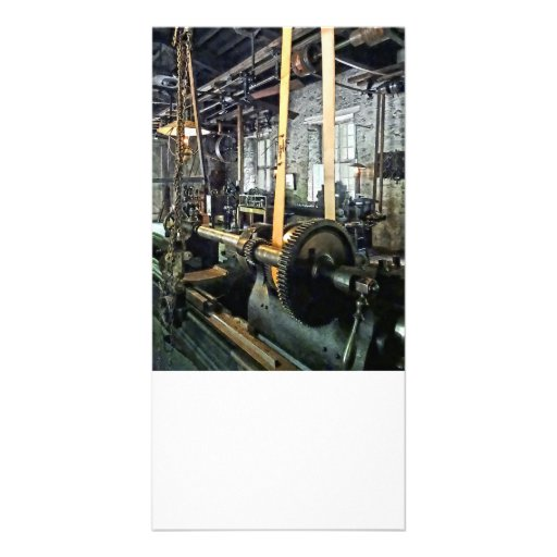 Large Lathe in Machine Shop Photo Cards