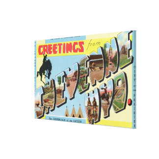 Large Letter Scenes, Greetings From Canvas Print