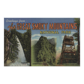 Large Letter Scenes - Smoky Mts. Nat'l Park, TN Poster