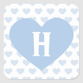 Large Light Blue Heart - Monogram Square Sticker