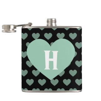 Large Light Green Heart & Black Background Hip Flask