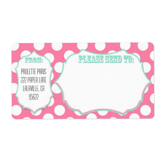 Large Mailing Labels Pink Dot