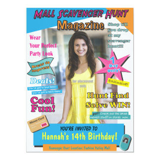 Large Mall Scavenger Hunt Birthday Magazine Cover 17 Cm X 22 Cm Invitation Card