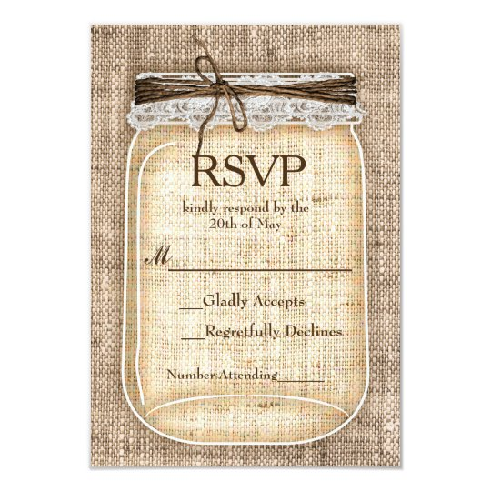 Large Mason Jar & Burlap Lace Rustic Wedding