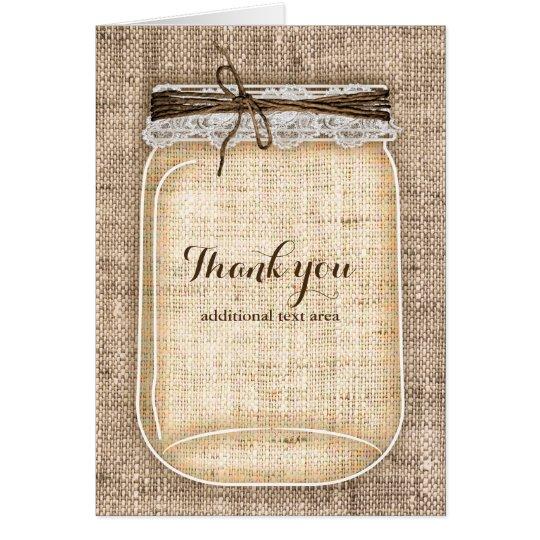 Large Mason Jar with Burlap & Lace Rustic Wedding Card