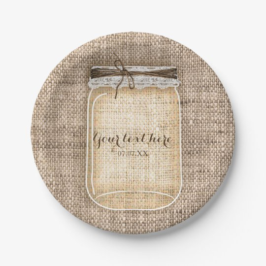 Large Mason Jar with Burlap & Lace Rustic