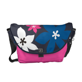 Large modern flower print navy blue hot pink courier bags