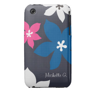 Large modern flower print personalized navy pink iPhone 3 cases