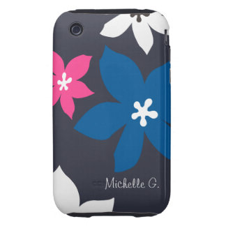 Large modern flower print personalized navy pink iPhone 3 tough cover