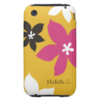 Large modern flower print personalized yellow pink iPhone 3 tough covers