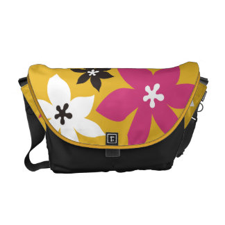 Large modern flower print yellow hot pink black courier bags