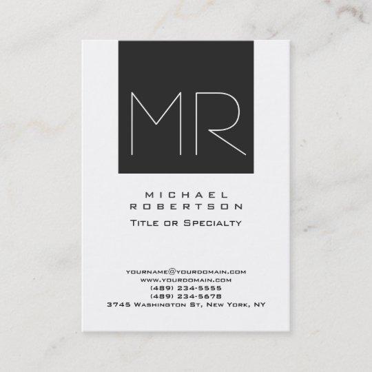Large Modern Monogram Professional Business Card