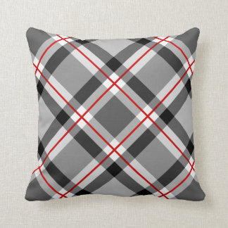 Large Modern Plaid, Black, White, Gray and Red Cushion