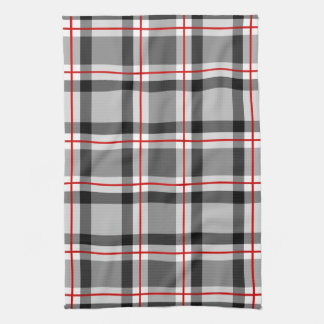 Large Modern Plaid, Black, White, Gray and Red Tea Towel