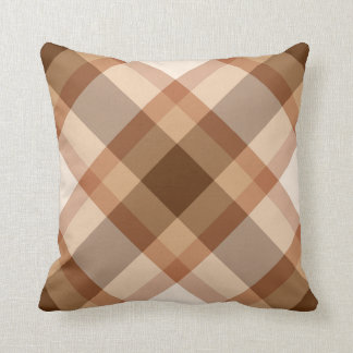 Large Modern Plaid, Brown, Beige, Copper, and Tan Cushion