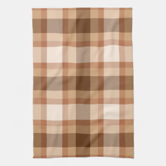 Large Modern Plaid, Brown, Beige, Copper, and Tan Tea Towel