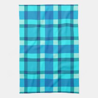 Large Modern Plaid, Cobalt Blue, Aqua & Turquoise Tea Towel