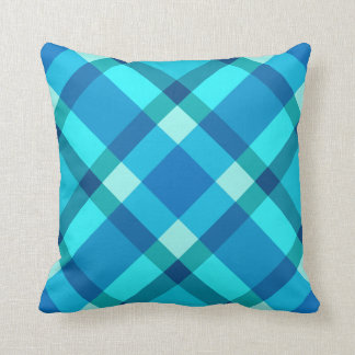 Large Modern Plaid, Cobalt Blue, Aqua & Turquoise Throw Pillow