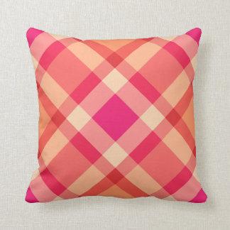 Large Modern Plaid, Orange, Coral and Fuchsia Pink Cushion