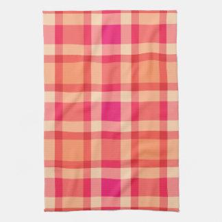 Large Modern Plaid, Orange, Coral and Fuchsia Pink Tea Towel