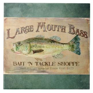 Large Mouth Bass Bait n Tackle Lake Decor Large Square Tile