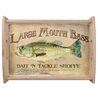 Large Mouth Bass Bait n Tackle Lake Decor Serving Tray
