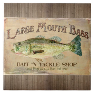 Large Mouth Bass Fisherman Cabin Wood Boards Large Square Tile