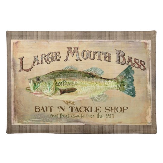 Large Mouth Bass Fisherman Cabin Wood Boards Place Mats