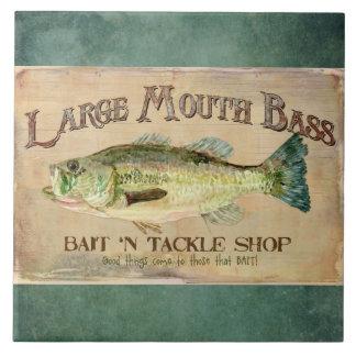 Large Mouth Bass Fishing Lake Cabin Decor Blue Large Square Tile